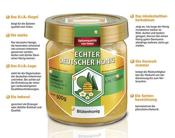 Honigglas und Etikett des Deutschen Imkerbundes e.V. (D.I.B.)