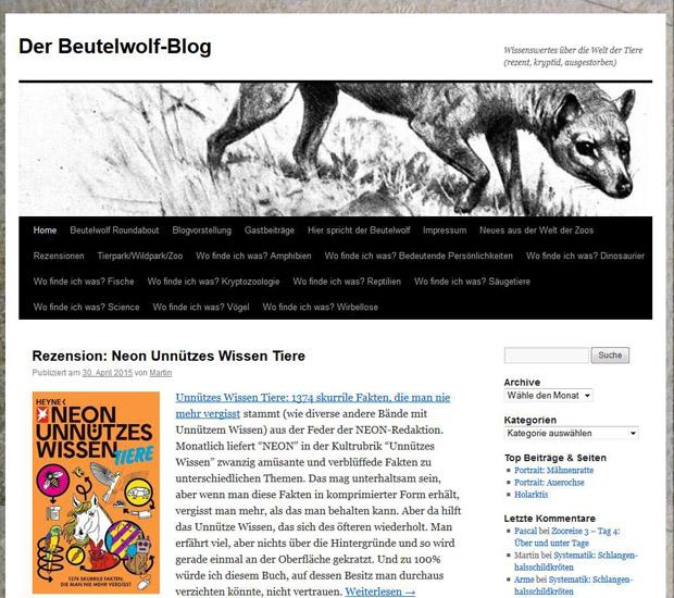 Screenshot Beutelwolf-Blog